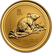 Australia 100 Dollars Lunar Rat 1996 KM# 300 1996 1 OZ 9999 GOLD coin reverse