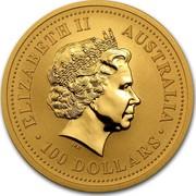Australia 100 Dollars Lunar Rooster 2005 KM# 796 ELIZABETH II AUSTRALIA 100 DOLLARS IRB coin obverse