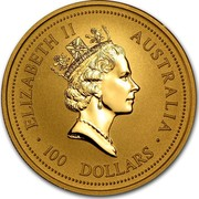 Australia 100 Dollars Lunar Tiger 1998 KM# 508 ELIZABETH II AUSTRALIA 100 DOLLARS RDM coin obverse