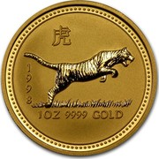 Australia 100 Dollars Lunar Tiger 1998 KM# 508 1998 1 OZ 9999 GOLD coin reverse
