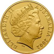 Australia 100 Dollars Queen's 50th Anniversary of Accession 2002 KM# 646 ELIZABETH II AUSTRALIA 2002 IRB coin obverse