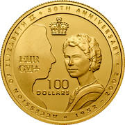 Australia 100 Dollars Queen's 50th Anniversary of Accession 2002 KM# 646 ACCESSION OF ELIZABETH II 50TH ANNIVERSARY 1952 -2002 100 DOLLARS EIIR GVI+ coin reverse