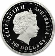 Australia 100 Dollars Sir Henry Parkes 2001 Proof KM# 921 ELIZABETH II AUSTRALIA 100 DOLLARS coin obverse