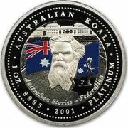 Australia 100 Dollars Sir Henry Parkes 2001 Proof KM# 921 AUSTRALIAN KOALA AUSTRALIAN STORIES ~ FEDERATION 1 OZ. 9995 2001 PLATINUM coin reverse
