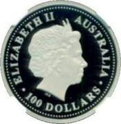 Australia 100 Dollars The Arts - Dancers 2003 Proof KM# 930 ELIZABETH II AUSTRALIA 100 DOLLARS coin obverse