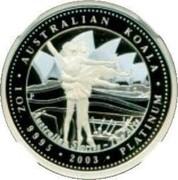 Australia 100 Dollars The Arts - Dancers 2003 Proof KM# 930 AUSTRALIAN KOALA 1 OZ 9995 2003 PLATINUM coin reverse