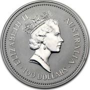 Australia 100 Dollars The Australian Koala 1988 KM# 111 ELIZABETH II AUSTRALIA 100 DOLLARS RDM coin obverse