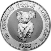 Australia 100 Dollars The Australian Koala 1988 KM# 111 THE AUSTRALIAN KOALA 1 OZ 9995 PLATINUM 1988 MT coin reverse
