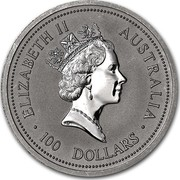 Australia 100 Dollars The Australian Koala 1990 KM# 126 ELIZABETH II AUSTRALIA 100 DOLLARS RDM coin obverse