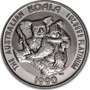 Australia 100 Dollars The Australian Koala 1990 KM# 126 THE AUSTRALIAN KOALA 1 OZ 9995 PLATINUM 1990 MT coin reverse