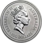 Australia 100 Dollars The Australian Koala 1992 KM# 174 ELIZABETH II AUSTRALIA 100 DOLLARS RDM coin obverse
