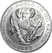 Australia 100 Dollars The Australian Koala 1992 KM# 174 THE AUSTRALIAN KOALA 1 OZ 9995 PLATINUM 1992 JB coin reverse