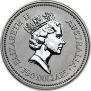Australia 100 Dollars The Australian Koala 1993 KM# 195 ELIZABETH II AUSTRALIA 100 DOLLARS RDM coin obverse