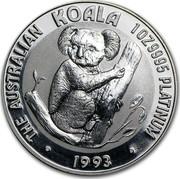 Australia 100 Dollars The Australian Koala 1993 KM# 195 THE AUSTRALIAN KOALA 1 OZ 9995 PLATINUM 1993 coin reverse