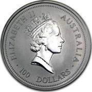 Australia 100 Dollars The Australian Koala 1994 KM# 253 ELIZABETH II AUSTRALIA 100 DOLLARS RDM coin obverse