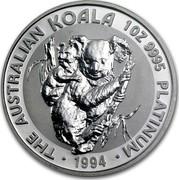 Australia 100 Dollars The Australian Koala 1994 KM# 253 THE AUSTRALIAN KOALA 1 OZ 9995 PLATINUM 1994 MM coin reverse