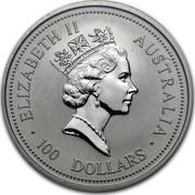 Australia 100 Dollars The Australian Koala 1995 KM# 282 ELIZABETH II AUSTRALIA 100 DOLLARS RDM coin obverse
