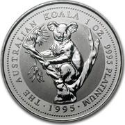 Australia 100 Dollars The Australian Koala 1995 KM# 282 THE AUSTRALIAN KOALA 1 OZ. 9995 PLATINUM 1995 LP coin reverse