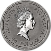 Australia 100 Dollars The Australian Koala 1997 KM# 348 ELIZABETH II AUSTRALIA 100 DOLLARS RDM coin obverse