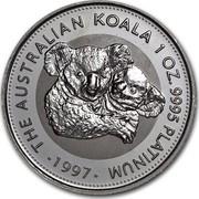 Australia 100 Dollars The Australian Koala 1997 KM# 348 THE AUSTRALIAN KOALA 1 OZ. 9995 PLATINUM 1997 coin reverse