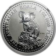 Australia 100 Dollars The Australian Koala 1999 KM# 460 THE AUSTRALIAN KOALA 1 OZ. 9995 PLATINUM 1999 P100 coin reverse