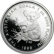 Australia 100 Dollars The Australian Koala 2000 KM# 473 THE AUSTRALIAN KOALA 1 OZ. 9995 PLATINUM 2000 P coin reverse