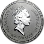 Australia 100 Dollars (The Australian Koala) KM# 149 ELIZABETH II AUSTRALIA 100 DOLLARS RDM coin obverse
