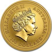Australia 100 Dollars The Australian Nugget 2002 KM# 693 ELIZABETH II AUSTRALIA 100 DOLLARS IRB coin obverse