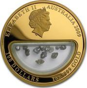 Australia 100 Dollars Treasures of Australia 2009 KM# 1243 ELIZABETH II AUSTRALIA 2009 100 DOLLARS 1 OZ 9999 GOLD IRB coin obverse