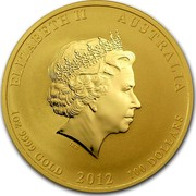 Australia 100 Dollars Year of the Dragon 2012 KM# 1674 ELIZABETH II AUSTRALIA 1 OZ 9999 GOLD 2012 100 DOLLARS IRB coin obverse