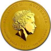 Australia 100 Dollars Year of the Horse 2014 KM# 2105 ELIZABETH II AUSTRALIA 1 OZ 9999 GOLD 2014 100 DOLLARS IRB coin obverse