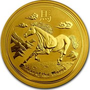 Australia 100 Dollars Year of the Horse 2014 KM# 2105 YEAR OF THE HORSE P TV coin reverse