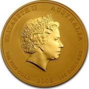 Australia 100 Dollars Year of the Mouse 2008 Proof KM# 1907 ELIZABETH II AUSTRALIA 1 OZ 9999 GOLD 2008 100 DOLLARS IRB coin obverse