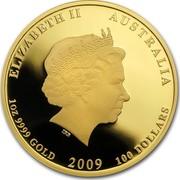 Australia 100 Dollars Year of the Ox 2009 KM# 1908 ELIZABETH II AUSTRALIA 1 OZ 9999 GOLD 2009 100 DOLLARS IRB coin obverse