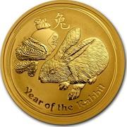 Australia 100 Dollars Year of the Rabbit 2011 KM# 1485 YEAR OF THE RABBIT P coin reverse