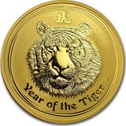 Australia 100 Dollars Year of the Tiger 2010 KM# 1323 YEAR OF THE TIGER P coin reverse