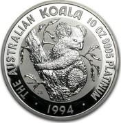 Australia 1000 Dollars Koala 1994 KM# 255 THE AUSTRALIAN KOALA 10 OZ 9995 PLATINUM • 1994 • JB coin reverse