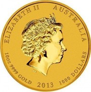Australia 1000 Dollars Year of the Snake 2013 KM# 2000 ELIZABETH II AUSTRALIA 10 OZ 9999 GOLD 2013 1000 DOLLARS IRB coin obverse