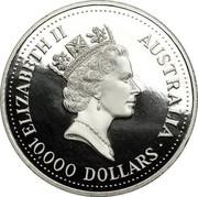 Australia 10000 Dollars (Koala) KM# 159 ELIZABETH II AUSTRALIA 10,000 DOLLARS coin obverse