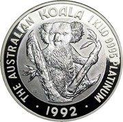 Australia 10000 Dollars (Koala) KM# 159 THE AUSTRALIAN KOALA 1 KILO. 9995 PLATINUM JB 1992 coin reverse
