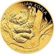 Australia 15 Dollars Australian Koala 2013 P Proof KM# 1982 AUSTRALIAN KOALA 2013 1/10OZ 9999 GOLD coin reverse