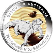 Australia 15 Dollars Goanna 2012 P Proof KM# 1852 DISCOVER AUSTRALIA 2012 GOANNA 1/10OZ 9995 PLATINUM coin reverse