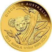 Australia 15 Dollars Koala seated in tree 2013 P Proof KM# 2056 DISCOVER AUSTRALIA 2013 KOALA 1/10 OZ 9999 GOLD coin reverse