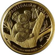 Australia 15 Dollars Koala seated in tree 2013 P Proof KM# 2049 AUSTRALIAN KOALA 2013 1/10 OZ 9999 GOLD coin reverse