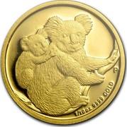 Australia 15 Dollars Koalas on a tree branch 2008 KM# 1873 1/10 OZ 9999 GOLD P SB coin reverse