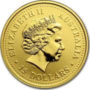 Australia 15 Dollars Lunar Goat 2003 KM# 711 ELIZABETH II AUSTRALIA 15 DOLLARS IRB coin obverse