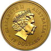 Australia 15 Dollars Lunar Rabbit 1999 KM# 426 ELIZABETH II AUSTRALIA 15 DOLLARS IRB coin obverse