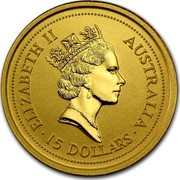Australia 15 Dollars Lunar Rat 1996 KM# 298 ELIZABETH II AUSTRALIA 15 DOLLARS RDM coin obverse