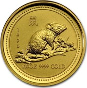 Australia 15 Dollars Lunar Rat 1996 KM# 298 1996 1/10 OZ 9999 GOLD coin reverse