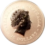 Australia 15 Dollars Lunar Rooster (Colorized) 2005 KM# 794b ELIZABETH II AUSTRALIA 15 DOLLARS IRB coin obverse